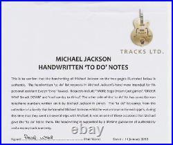 HISTORICAL Michael Jackson Handwritten Notes with TRACKS COA and REAL COA RARE