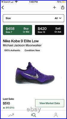 Kobe 9 IX Elite Low Moonwalker Michael Jackson Size 10 Authentic Rare