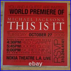 MICHAEL JACKSON THIS IS IT OCTOBER 27th 2009 PREMIERE Metal Invitation RARE