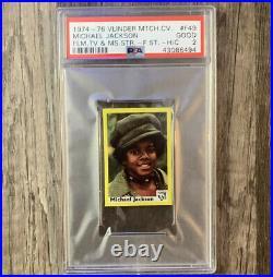 Michael Jackson 1974 Vlinder Match Box Card SUPER RARE RC Rookie PSA 2