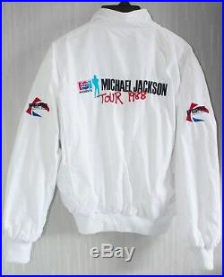 Michael Jackson BAD Tour 1988 White Bomber Jacket (Promo Pepsi Japan) VTG RARE