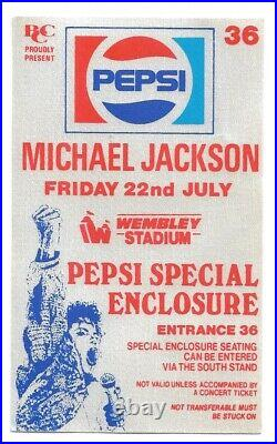 Michael Jackson Bad World Tour 88 Rare Pepsi Special Enclosure Pass Wembley
