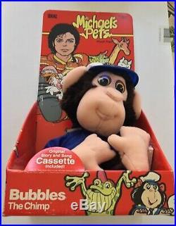 Michael Jackson Pets BUBBLES THE CHIMP Plush + Cassette rare 1987 IDEAL TOYS