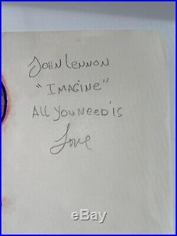 Michael Jackson RARE Drawing of John Lennon (Beatles) Autographed by MJ