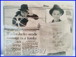 Michael Jackson, Rare hand written message from 1992