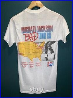 Michael Jackson T Shirt Vintage 1988 Concert USA Bad Tour Promo Sz Medium RARE