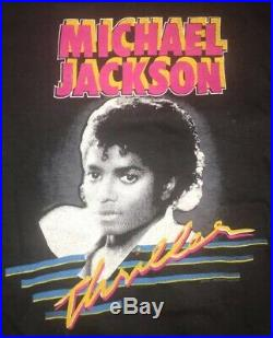 Michael Jackson Thriller Screen Stars M Rap Band Tour Tee T Shirt Rare Vintage