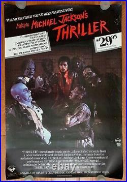 Original 1983 Making Michael Jacksons Thriller VHS Promo RARE Poster 27x39