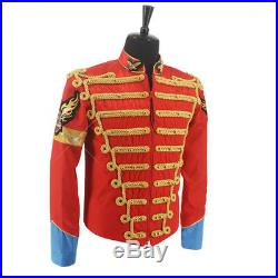 Rare MJ Michael Jackson Red Retro England Military Jacket Handmade