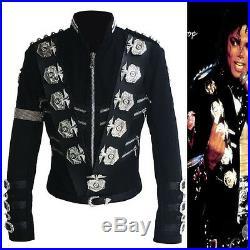 Rare Mj Michael Jackson Bad Tour Punk Classic Badges Black Jacket Outerwear