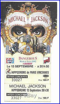 Rare / Ticket Billet De Concert Michael Jackson Live A Paris (france) 1992