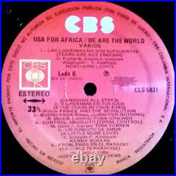 Usa For Africa We Are the World 12 PROMO MEXICO LP MEGA RARE! Michael Jackson
