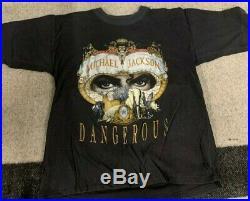 VTG RARE 90s Michael Jackson'Dangerous' Tour T Shirt No Tag Sz M/L