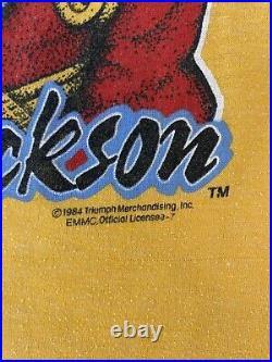 Vintage 1984 MICHAEL JACKSON GLOVE SPARKLY RARE Yellow T-shirt Sz M Very Rare