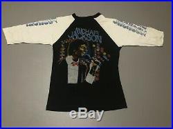 Vintage 80s MICHAEL JACKSON KING OF POP Music Raglan T-Shirt Adult Size S RARE