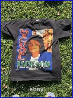 Vintage Michael Jackson Rap Tee Repro RARE King Of Pop, Single Stitch Mega Print